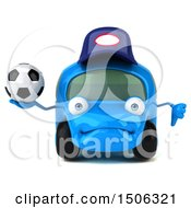 3d Little Blue Car Mechanic Holding A Soccer Ball On A White Background
