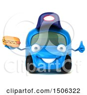 Poster, Art Print Of 3d Little Blue Car Mechanic Holding A Hot Dog On A White Background