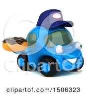 Poster, Art Print Of 3d Little Blue Car Mechanic Holding A Donut On A White Background