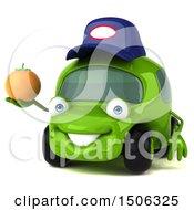 Poster, Art Print Of 3d Little Green Car Mechanic Holding An Orange On A White Background