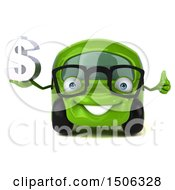 3d Little Green Car Holding A Dollar Sign On A White Background