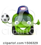 3d Little Green Car Mechanic Holding A Soccer Ball On A White Background