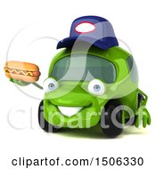 Poster, Art Print Of 3d Little Green Car Mechanic Holding A Hot Dog On A White Background