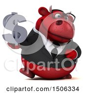 3d Red Business Bull Holding A Dollar Sign On A White Background