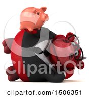 Poster, Art Print Of 3d Red Business Bull Holding A Piggy Bank On A White Background