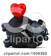 Poster, Art Print Of 3d Black Business Bull Holding A Heart On A White Background