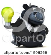 Poster, Art Print Of 3d Black Business Bull Holding A Light Bulb On A White Background
