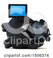 3d Black Business Bull Holding A Tablet On A White Background