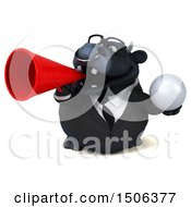 3d Black Business Bull Holding A Golf Ball On A White Background