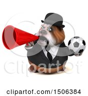 Clipart Of A 3d Gentleman Or Business Bulldog Holding A Soccer Ball On A White Background Royalty Free Illustration