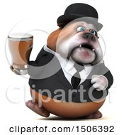 Clipart Of A 3d Gentleman Or Business Bulldog Holding A Beer On A White Background Royalty Free Illustration