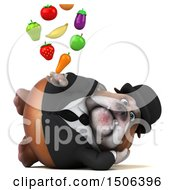 Clipart Of A 3d Gentleman Or Business Bulldog Holding Produce On A White Background Royalty Free Illustration