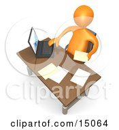 Orange Employee Seated At A Wooden Desk And Using A Laptop While Doing Paperwork At The Office Clipart Graphic