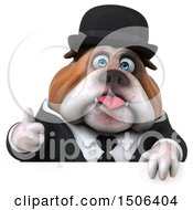Clipart Of A 3d Gentleman Or Business Bulldog Holding A Thumb Up On A White Background Royalty Free Illustration