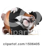 Clipart Of A 3d Gentleman Or Business Bulldog Resting On A White Background Royalty Free Illustration