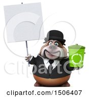 Clipart Of A 3d Gentleman Or Business Bulldog Holding A Recycle Bin On A White Background Royalty Free Illustration