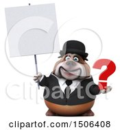 Clipart Of A 3d Gentleman Or Business Bulldog Holding A Question Mark On A White Background Royalty Free Illustration