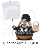 Clipart Of A 3d Gentleman Or Business Bulldog Holding A Padlock On A White Background Royalty Free Illustration