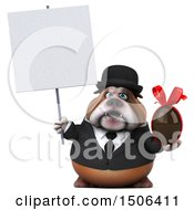Clipart Of A 3d Gentleman Or Business Bulldog Holding A Chocolate Egg On A White Background Royalty Free Illustration