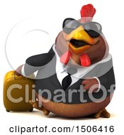 Poster, Art Print Of 3d Chubby Brown Business Chicken Traveler On A White Background