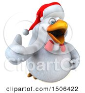 3d Chubby White Christmas Chicken Holding Up A Thumb On A White Background
