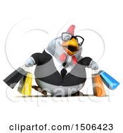 3d Chubby White Business Chicken Carrying Shopping Bags On A White Background