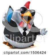 3d Chubby White Business Chicken Talking On A Smart Phone On A White Background