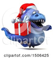 Poster, Art Print Of 3d Blue Christmas T Rex Dinosaur Holding A Gift On A White Background