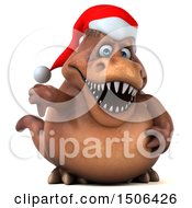Poster, Art Print Of 3d Brown Christmas T Rex Dinosaur Giving A Thumb Down On A White Background