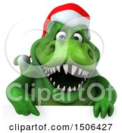 Poster, Art Print Of 3d Green Christmas T Rex Dinosaur On A White Background