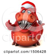 Poster, Art Print Of 3d Red Christmas T Rex Dinosaur Holding Up A Middle Finger On A White Background