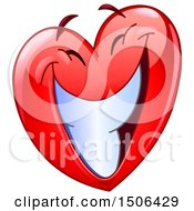Clipart Of A Red Love Heart Valentine Mascot Character With A Big Smile Royalty Free Vector Illustration