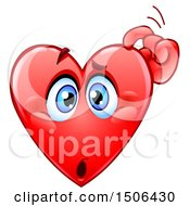 Clipart Of A Confused Red Love Heart Valentine Mascot Character Scratching His Head Royalty Free Vector Illustration