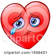 Clipart Of A Red Love Heart Valentine Mascot Character Crying Royalty Free Vector Illustration