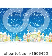 Clipart Of A Merry Christmas And Happy New Year In A Snowy Sky Over A Christmas Town Royalty Free Vector Illustration by Alex Bannykh