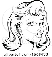 Clipart Of A Black And White Woman With Retro Styled Hair Royalty Free Vector Illustration by dero