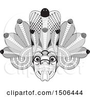 Clipart Of A Black And White Sri Lanka Maha Kola Devil Mask Royalty Free Vector Illustration by Lal Perera