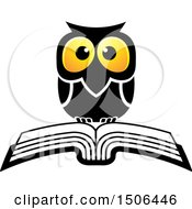 Clipart Of A Wise Owl Over A Book Royalty Free Vector Illustration by Lal Perera
