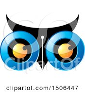 Clipart Of An Owl Face With A Pen Nib Royalty Free Vector Illustration by Lal Perera