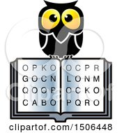 Clipart Of A Wise Owl Over An Open Book With Letters Royalty Free Vector Illustration by Lal Perera