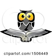 Clipart Of A Wise Owl Over A Silver Book Royalty Free Vector Illustration by Lal Perera