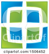 Clipart Of A Blue And Green Window Design Royalty Free Vector Illustration