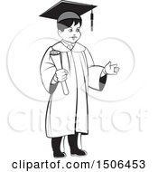 Clipart Of A Grayscale Boy Graduate Holding A Diploma Royalty Free Vector Illustration