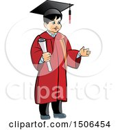 Clipart Of A Boy Graduate Holding A Diploma Royalty Free Vector Illustration