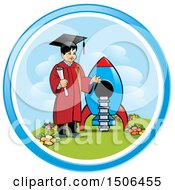 Clipart Of A Boy Graduate Holding A Diploma By A Rocket Royalty Free Vector Illustration