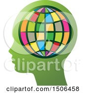 Clipart Of A Colorful Globe Over A Profiled Green Head Royalty Free Vector Illustration by Lal Perera