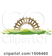 Clipart Of A Fence Arch In A Meadow Royalty Free Vector Illustration