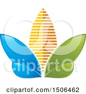Clipart Of A Blue Green And Orange Flower Icon Royalty Free Vector Illustration by Lal Perera