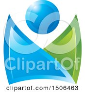 Clipart Of A Blue And Green Abstract Person Royalty Free Vector Illustration by Lal Perera