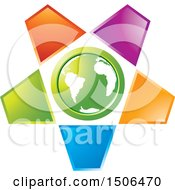 Clipart Of A Green Earth Encircled With Colorful Petals Royalty Free Vector Illustration